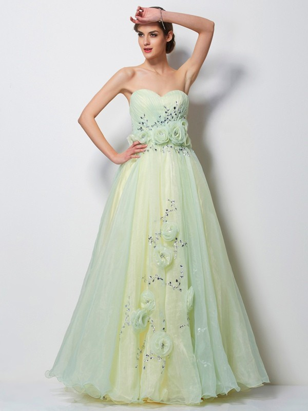Stylish A-Line Sweetheart Sleeveless Long Satin Dress