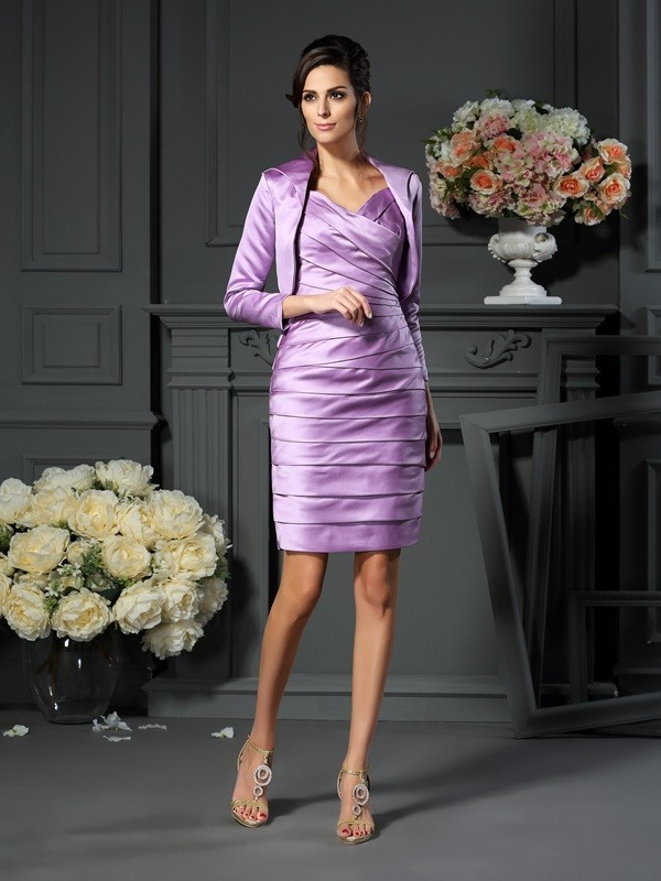 Fancy Sheath Straps Sleeveless Short Satin Mother of the Bride Dress