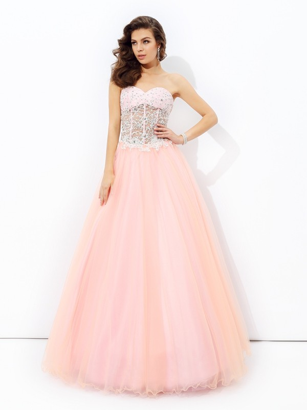 Nice A-Line Sweetheart Lace Sleeveless Long Net Dress