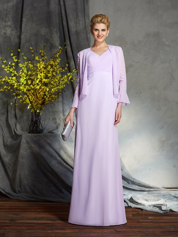 Amazing Sheath V-neck Sleeveless Long Chiffon Mother of the Bride Dress