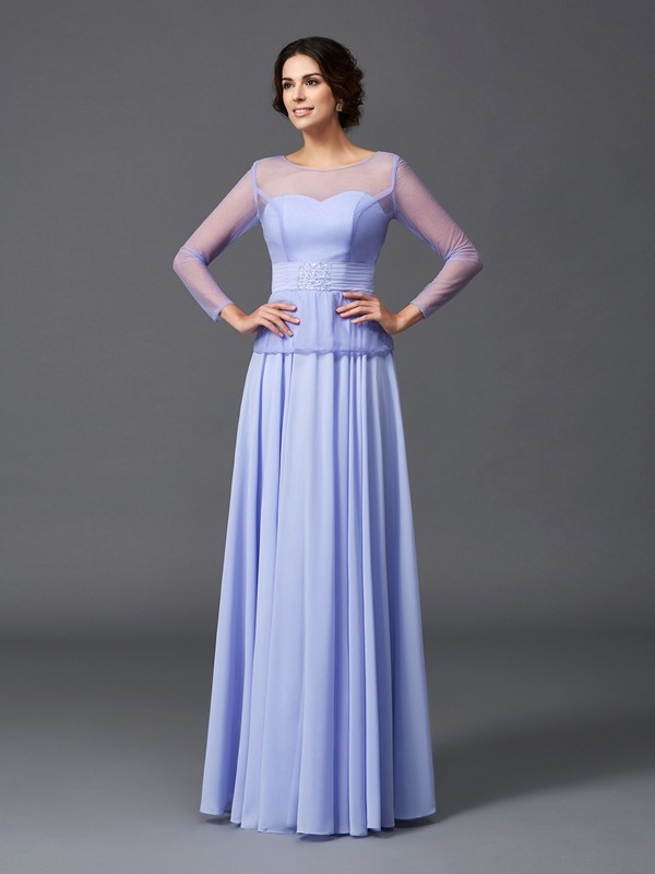 Amazing A-Line Scoop Long Sleeves Long Chiffon Mother of the Bride Dress