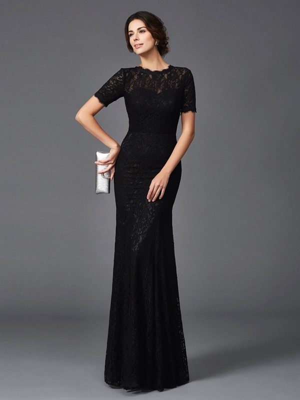 Amazing Sheath Jewel Lace Short Sleeves Long Elastic Woven Satin Mother of the Bride Dress