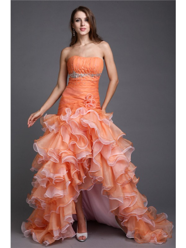 Hot Sale Ball Gown Strapless Sleeveless High Low Organza Cocktail Dress