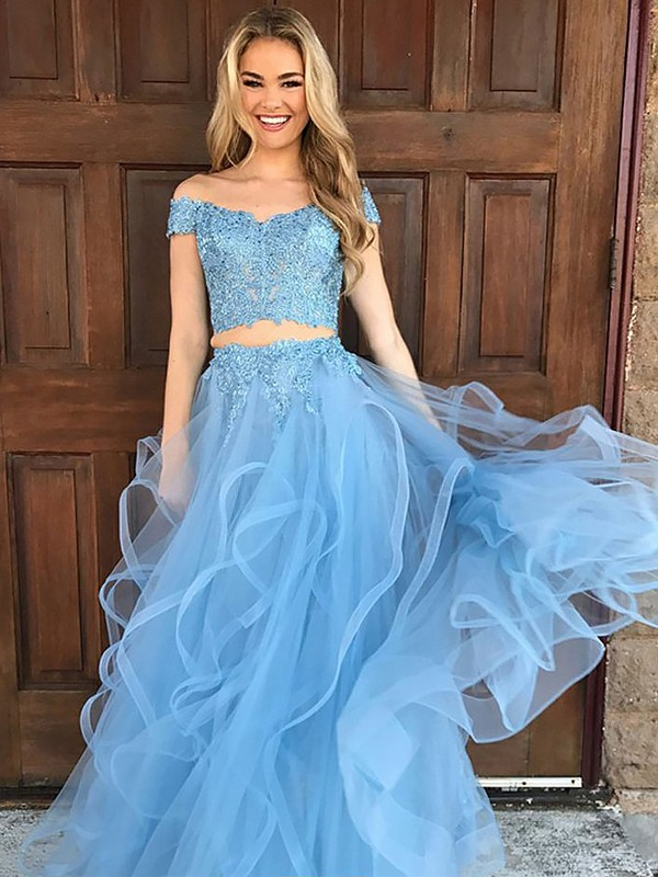 Fashion A-Line Sleeveless Off-the-Shoulder Tulle Floor-Length Two Piece Dress
