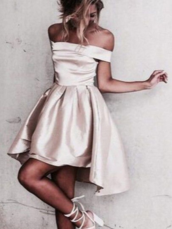Discount A-Line Sleeveless Off-the-Shoulder Satin Short/Mini Dress