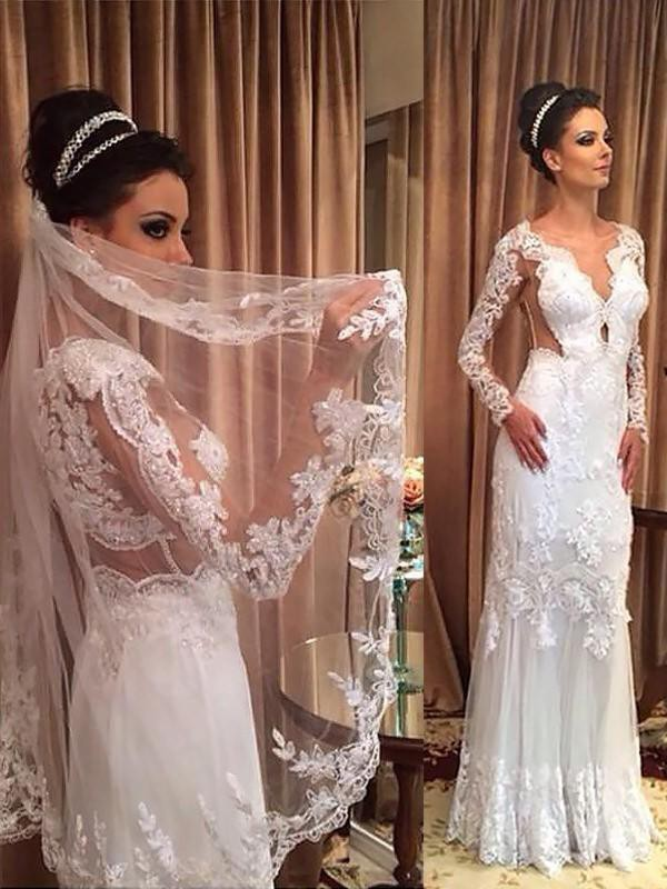 Stylish Sheath V-neck Tulle Long Sleeves Sweep/Brush Train Wedding Dress