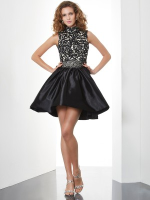 Elegant A-Line High Neck Sleeveless Short Taffeta Homecoming Dress