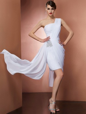 Chic Sheath One-Shoulder Sleeveless Short Chiffon Homecoming Dress