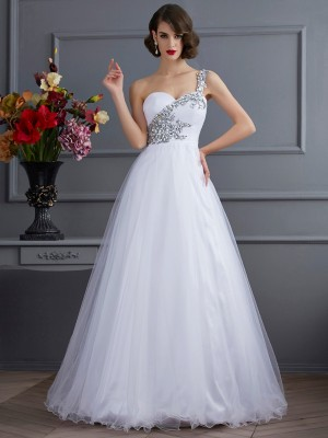 Stylish Ball Gown One-Shoulder Sleeveless Long Elastic Woven Satin Quinceanera Dress