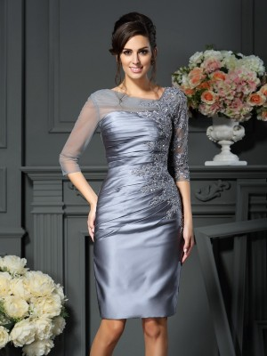 Fashion Sheath Scoop 1/2 Sleeves Short Satin Mother of the Bride Dress