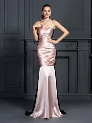 Exquisite Mermaid Sweetheart Lace Sleeveless Long Taffeta Dress