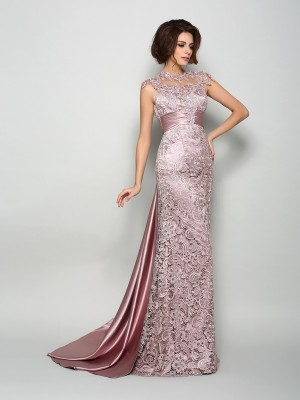 Exquisite A-Line High Neck Sleeveless Long Elastic Woven Satin Mother of the Bride Dress