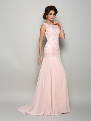 Classical Mermaid Scoop Sleeveless Long Chiffon Mother of the Bride Dress