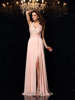 Unique A-Line Halter Lace Sleeveless Long Chiffon Dress