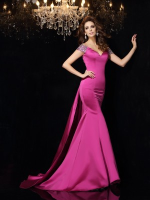 Unique Mermaid Off-the-Shoulder Sleeveless Long Satin Dress