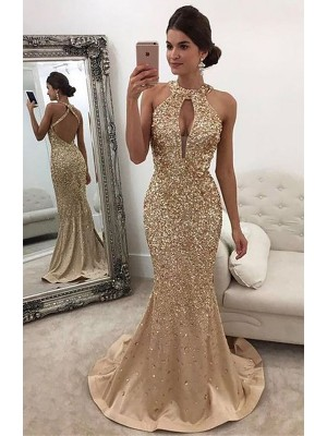 Fashion Mermaid Sleeveless Halter Sequin Sweep/Brush Train Satin Dress