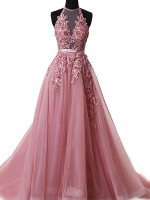 Gorgeous A-Line Halter Sleeveless Sweep/Brush Train Tulle Dress