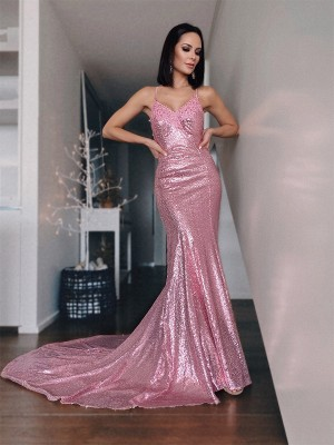 Gorgeous Mermaid Sequins V-neck Sleeveless Sweep/Brush Train Dress