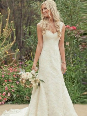 Discount Mermaid Sleeveless Sweep/Brush Train V-neck Lace Wedding Dress