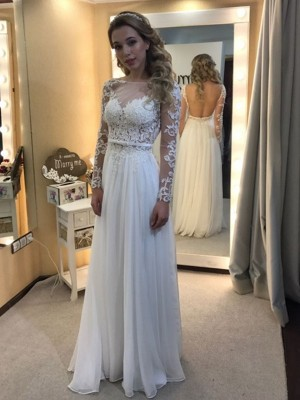 Affordable A-Line Bateau Floor-Length Long Sleeves Lace Chiffon Wedding Dress