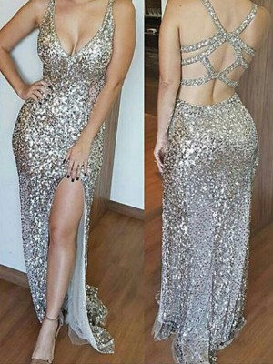 Perfect Sheath Sleeveless V-neck Sweep/Brush Train Sequins Dress