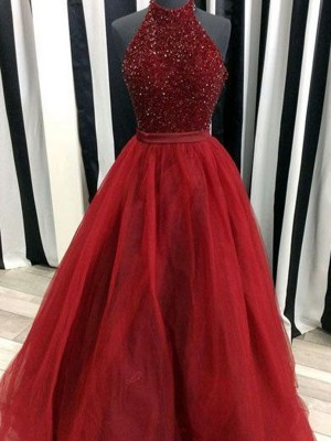 Perfect Ball Gown High Neck Sleeveless Floor-Length Organza Dress