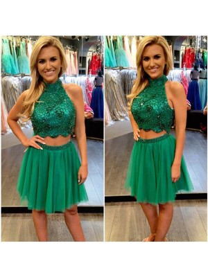 Discount A-Line Sleeveless High Neck Tulle Short/Mini Two Piece Dress