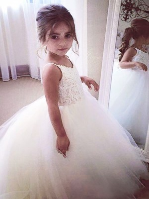 Chic Ball Gown Jewel Sleeveless Lace Floor-Length Tulle Flower Girl Dress