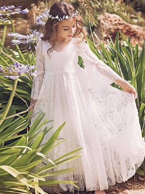 Chic A-Line Long Sleeves V-neck Lace Floor-Length Flower Girl Dress