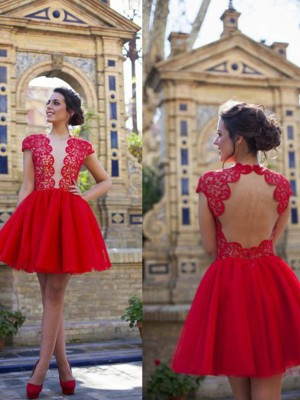 Discount A-Line Short Sleeves Scoop Lace Short/Mini Tulle Dress