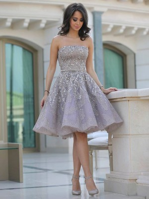 Discount A-Line Strapless Sleeveless Sequin Knee-Length Tulle Dress