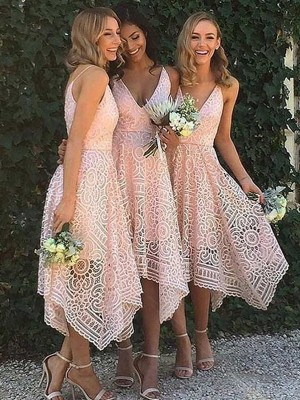 Cheap A-Line Sleeveless V-neck Asymmetrical Lace Bridesmaid Dress