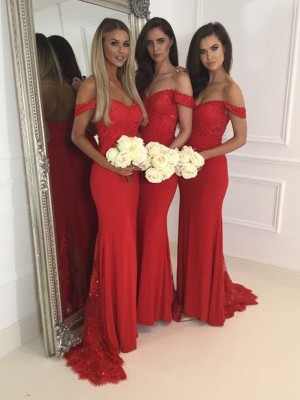 Discount Mermaid Off-the-Shoulder Sleeveless Jersey Sweep/Brush Train Bridesmaid Dress