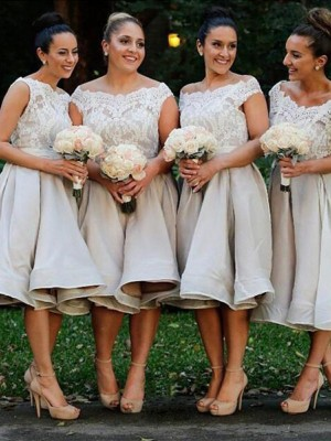 Discount A-Line Off-the-Shoulder Sleeveless Chiffon Knee-Length Bridesmaid Dress