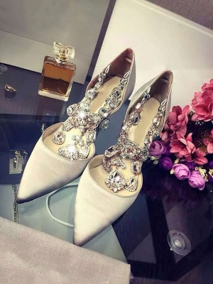 Beautiful Women Closed Toe Satin Stiletto Heel Chain High Heels