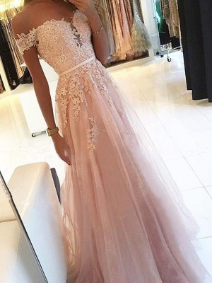 Gorgeous A-Line Off-the-Shoulder Sleeveless Floor-Length Tulle Dress