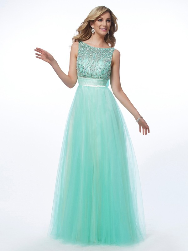 Beautiful A-Line Bateau Sleeveless Long Net Dress