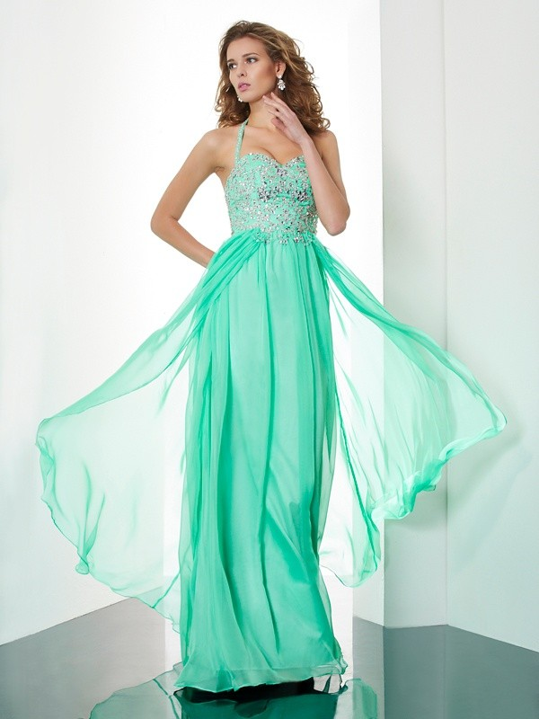 Beautiful A-Line Halter Sleeveless Long Chiffon Dress