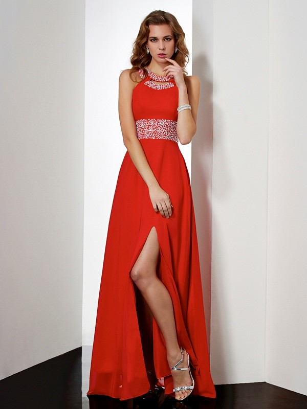 Beautiful Empire Jewel Sleeveless Long Chiffon Dress
