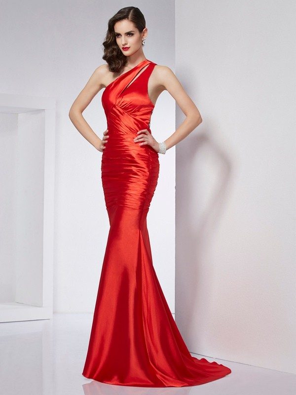 Beautiful Sheath One-Shoulder Long Elastic Woven Satin Dress