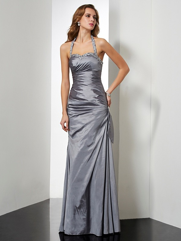 Beautiful Mermaid Halter Sleeveless Long Taffeta Dress