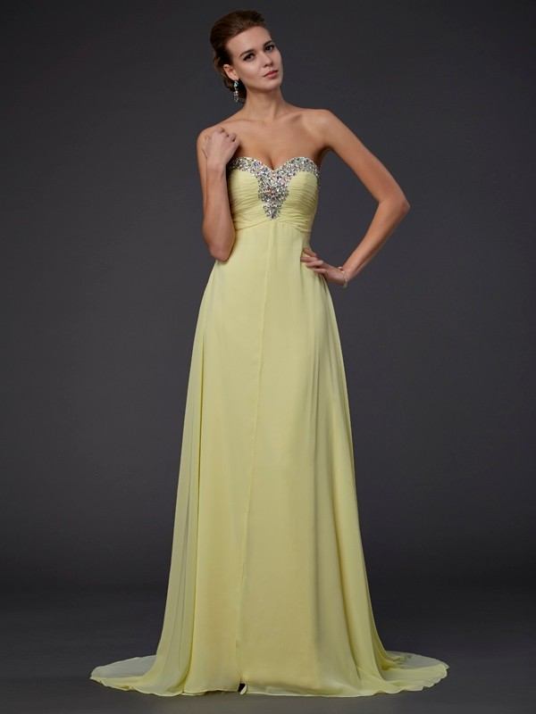 Beautiful A-Line Sweetheart Long Sleeveless Chiffon Dress