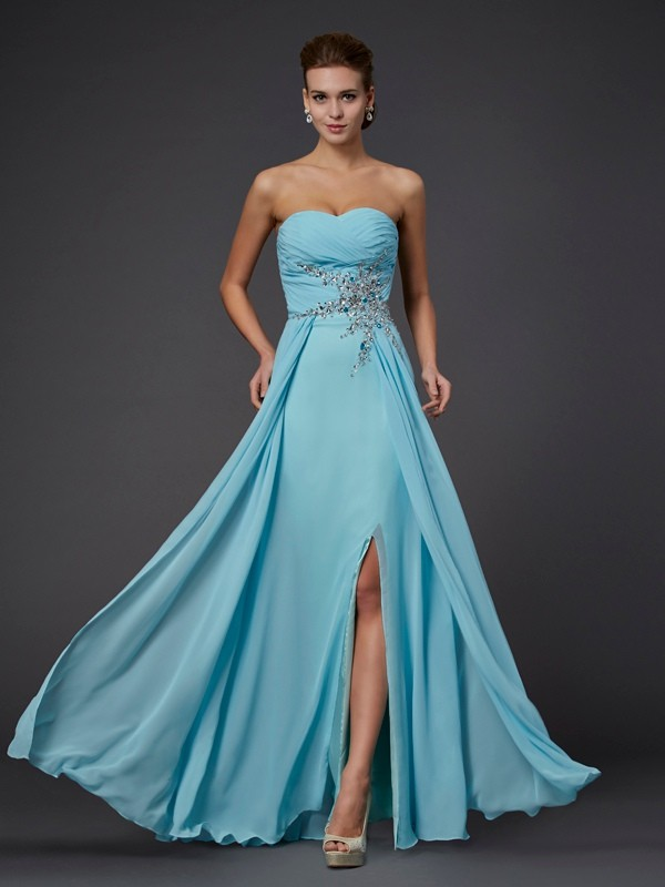 Beautiful Sheath Sleeveless Sweetheart Long Chiffon Dress