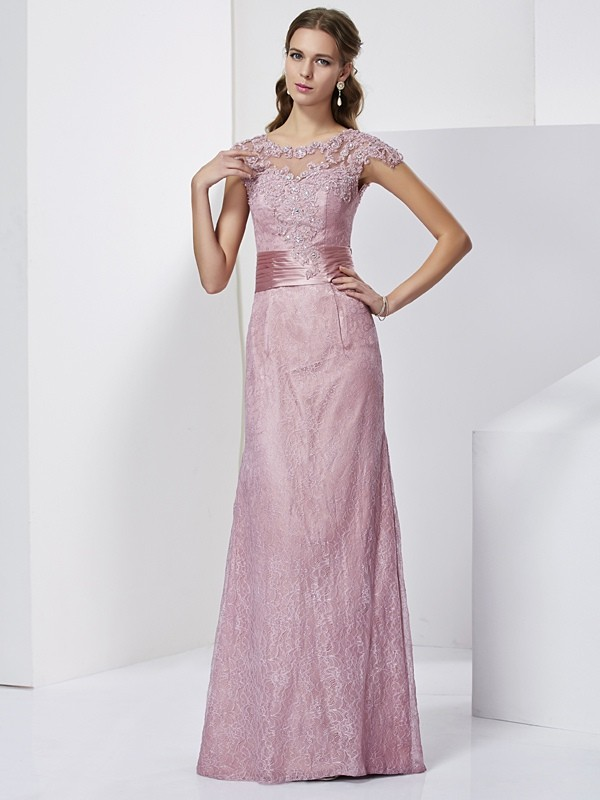 Beautiful Sheath High Neck Short Sleeves Lace Long Elastic Woven Satin Mother of the Bride Dress