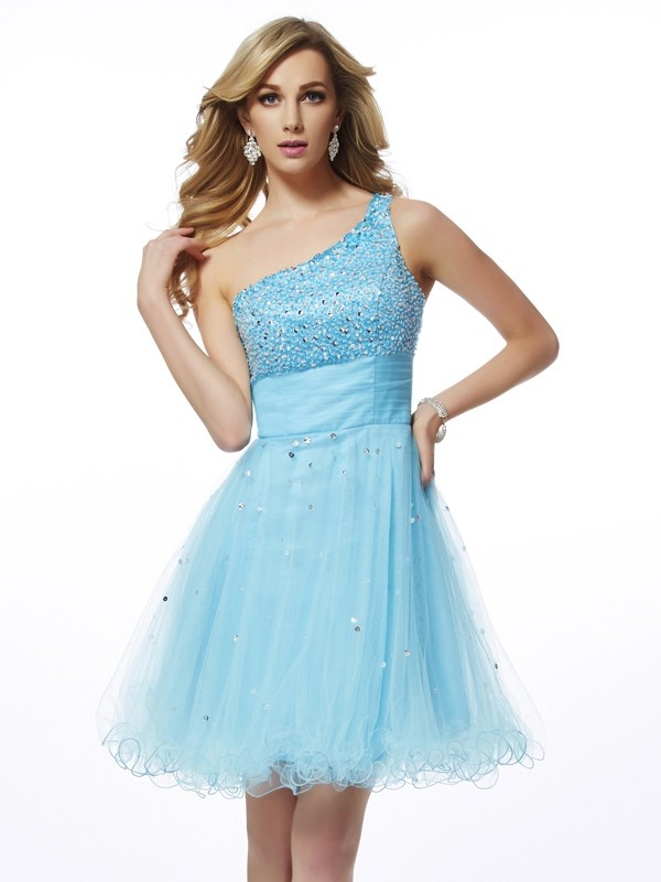 Elegant A-Line One-Shoulder Sleeveless Short Organza Homecoming Dress