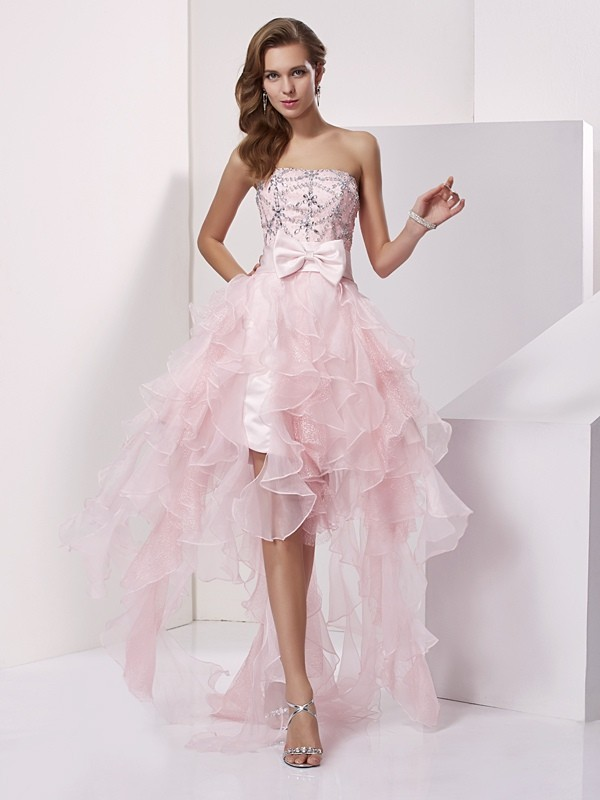 Elegant A-Line Strapless Sleeveless High Low Organza Homecoming Dress