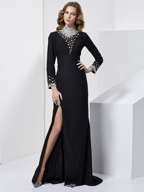 Elegant Sheath High Neck Long Sleeves Long Chiffon Dress
