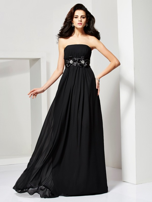 Elegant A-Line Strapless Sleeveless Long Chiffon Dress