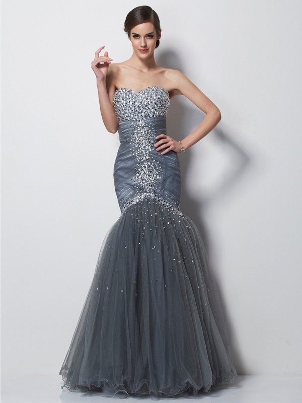 Chic Mermaid Sweetheart Sleeveless Long Net Dress