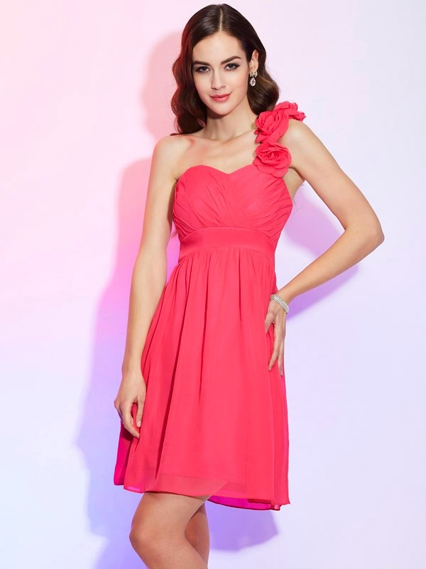 Chic A-Line One-Shoulder Sleeveless Short Chiffon Homecoming Dress